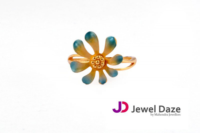 Gold Floral Enamel Ring