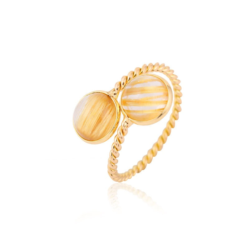 Golden rutile round gemstone ring for her