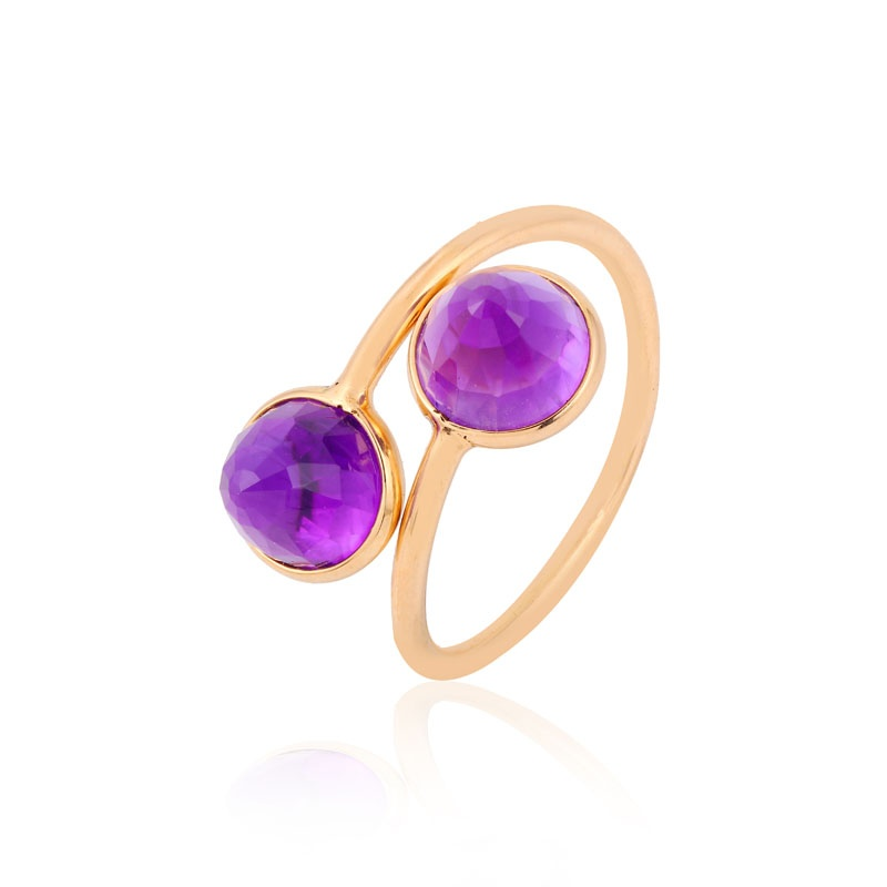 Amethyst bullet gemstone ring