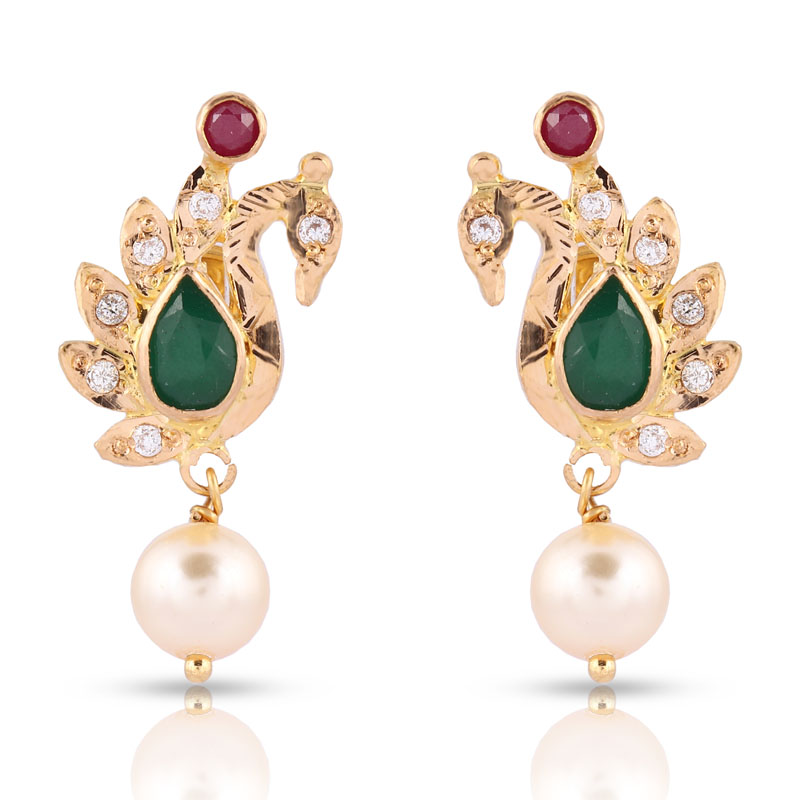 Peacock Pearl Drop Earring